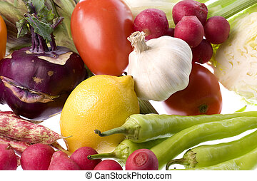 Mixed Vegetables Isolated - Isolated image of fresh mixed...