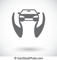 Concept car insurance Single flat icon on white background...
