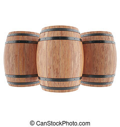 Wine, whiskey, rum, beer, barrels isolated on white...