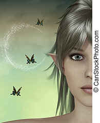 fairy face in a fantasy landscape with butterfly