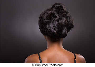 african female stylish hairstyle - rear view of african...