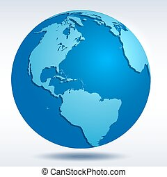 Globe icon with blue map of the continents of the world and...