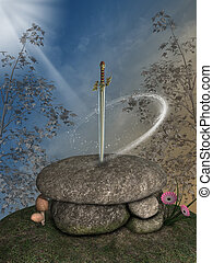 Fantasy landscape with excalibur sword in the forest