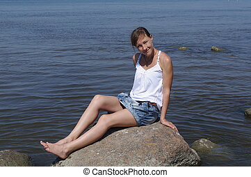 young woman on the Baltic Sea