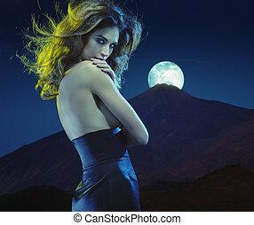 Seductive young lady at moonlight - Seductive young woman at...