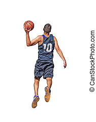 basketball player on white - basketball player isolated on...