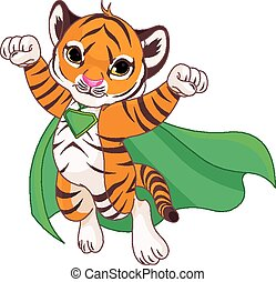 Super Tiger - Illustration of Super Hero Tiger