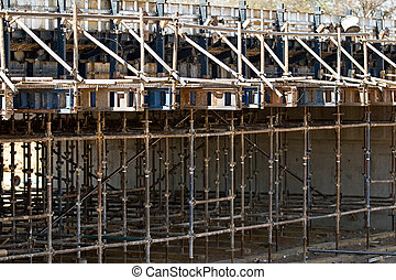 Bridge construction - Scaffolding bridge construction, over...