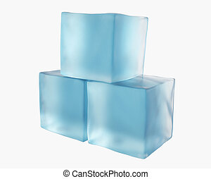 three translucent ice cubes
