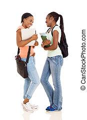 estudiantes, joven, conversación, colegio, hembra, africano, teniendo