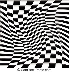 Chequered Pattern / Background With Swirling Effect...