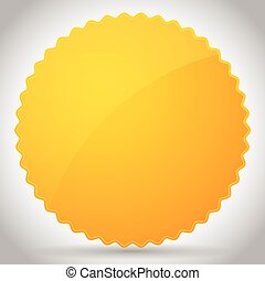 Yellow-Orange Glossy Badge shape with blank space...