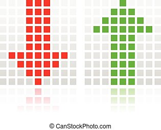 Up Down Arrow Icons Made of Squares Up Down Arrow Icons Made...