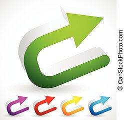 3D Colorful U turn / Backward or Return Arrows 3D Colorful U...