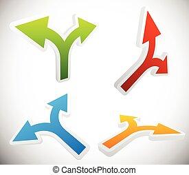 3D, 2, maneira, Seta, formas, jogo, -, Seta, desenho,...
