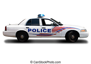 Police Car - A Police Car Isolated on White Background