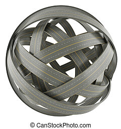 3d abstract sphere of tangled roads