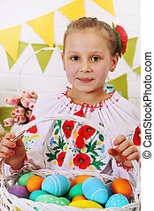 Girl with a basket of eggs