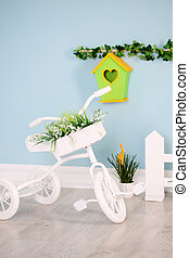 bicycle tricycle - Small white tricycle with flowers, kids...