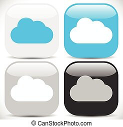 Cloud Icons in Different Colors      Cloud Icons in Different Colors