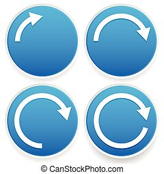 Circular arrows, 14, 12, 34 and full circles - Blue arrow...