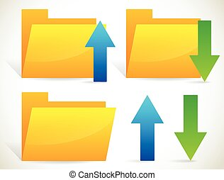 Upload, download icons with arrows and folders. separated...