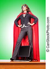 mujer de negocios, en, superwoman, concepto,