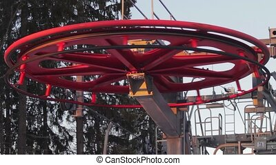 Ski lift in the work - View of the ski lift work on the...