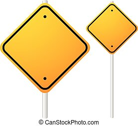 Blank Orange Roadsigns with empty space on metal poles....