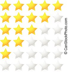 5 Star Rating System. Star rating vector with bright star...