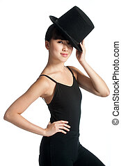 Dancer with Top Hat - A young asian dancer poses with a top...