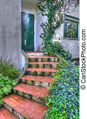 stairs to the door in hdr
