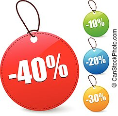 Discount tags with 40, 10, 20, 30 Percents      Discount tags with 40, 10, 20, 30 Percents
