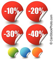 Discount Stickers, labels with Minus 10 to 40 Percents      Discount Stickers, labels with Minus 10 to 40 Percents
