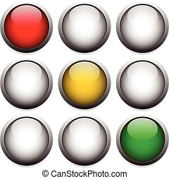 Traffic lights, lamps isolated on white. Red, yellow, green...