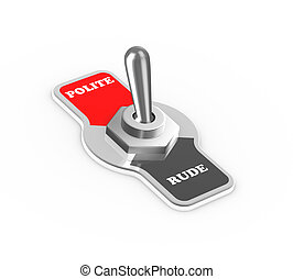 3d polite rude toggle switch button - 3d rendering of polite...