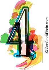 Artistic Font - Number 4 - Artistic Font vector Illustration...