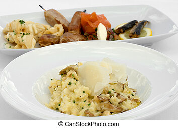 Mushroom Risotto and an Entree Tasting Plate