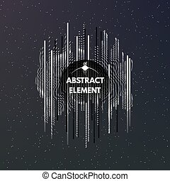 Dark cosmic background with ornament and stripes. Abstract...