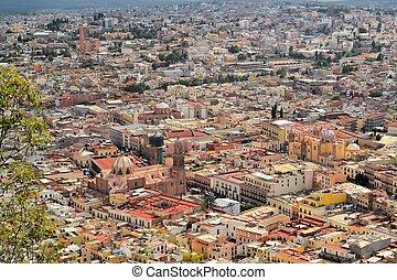 aéreo, cidade, coloridos,  México,  colonial, vista,  zacatecas