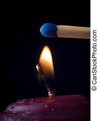 Candle Flame with Match - Candle Flame impending dire,...