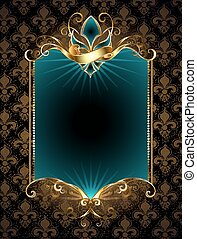 design with Fleur de Lis - rectangular turquoise banner...