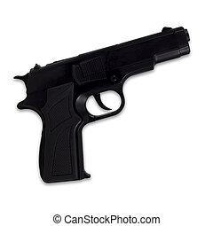 arma, isolado, pretas, fundo, branca, semi-automático