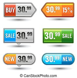 Glossy button e-commerce price tags
