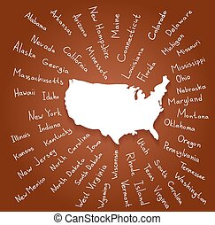 Hand Drawn USA states vector illustration - Hand drawn USA...