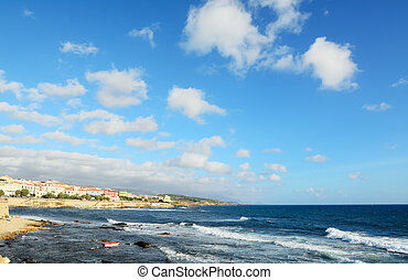 Alghero shore on a windy day - Alghero rocky coast on a...