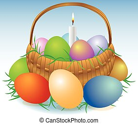 Easter basket with candle