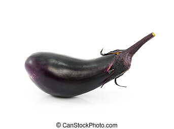fresh eggplants in white background