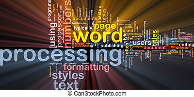 Word processing word cloud glowing - Word cloud concept...