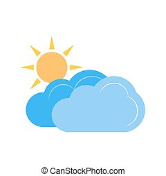 Partly Cloudy - Sun, solar, clouds, sunny icon vector image...